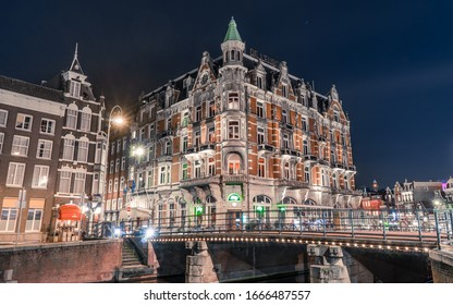 1st March 2020, Amsterdam, the Netherlands : Night illumination of Hotel Europe - DE L'EUROPE - at night low angle long exposure shot
