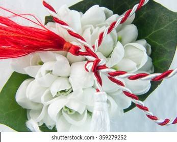 1st of March tradition white and red cord and ghiocel flower