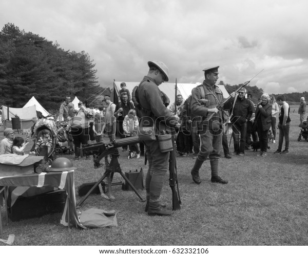 1st May 2017- Part of a world war one (WW1) military display at Pembrey Country Park near Llanelli, Carmarthenshire, Wales, UK.