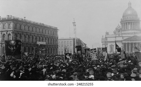 The 1st of May celebration, Isaakievskii Square, St. Petersburg, 1917