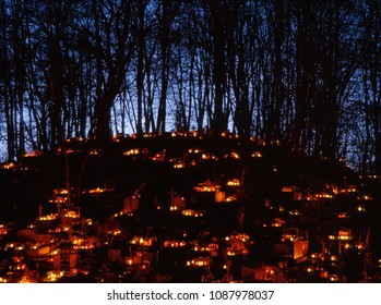 1st november, All Saints Day, cemetery in lubelskie region, Poland