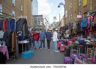 1st October 2017, Petticoat Lane, London, a street scene showing the market in progress.