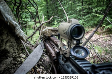 1st person view of an M4A1 aifrsoft replica during an airsoft game in the woods