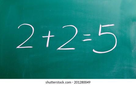 2 + 2 = 5 Chalk on blackboard