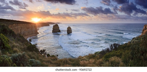 2 apostles panoramic view from lookout at the Great Ocean Road ,  Victoria, Australia, sunrise