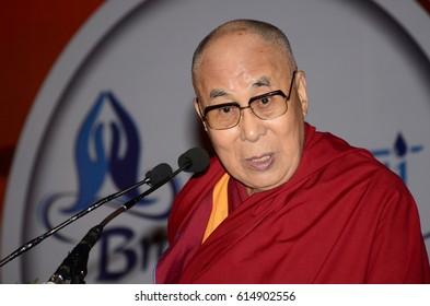 2 April 2017, Guwahati, Assam, India. Tibetan spiritual leader the Dalai Lama during Namami Brahmaputra Festival.
