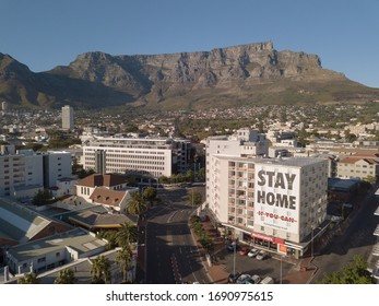 2 April 2020 - Cape Town, South Africa: Aerial view of empty streets in Cape Town, South Africa during the Covid 19 lockdown.