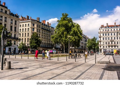 2 August 2018, Lyon France : Streetview of pedestrian shopping street and Republique square in Lyon France