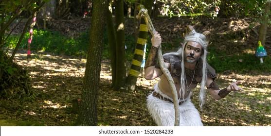 "2 August 2019, ""Magic Forest"" Outdoor Theater for kids, during a medieval event `Viagem Medieval em Terra de Santa Maria` in Santa Maria da Feira, Portugal."
