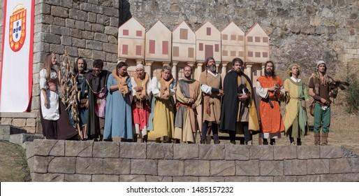 "2 August 2019, Street Theater performance during a medieval event ""Viagem Medieval em Terra de Santa Maria"" in Santa Maria da Feira, Portugal."