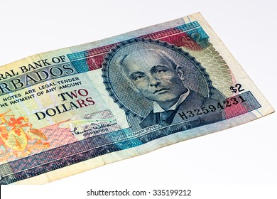 2 Barbadian dollar bank note. Barbadian dollars in the national currency of Barbados