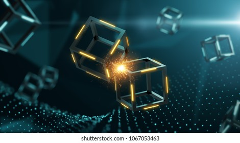 2 blocks clashed creating a spark inside blockchain system - 3D Rendering