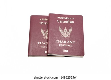 2 books of Thai passport shot in isolatation style on the empty white background