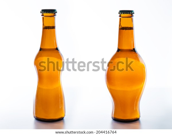 2 bottles of beer, one with slim silhouette and one with beer belly.