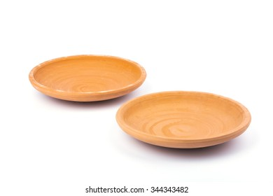 2 Clay dish on white background