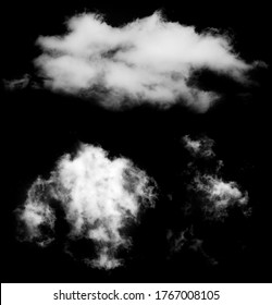 2 clouds on black background