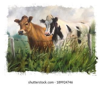 2 cows Torn Edges