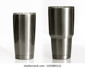 2 Cup cold storage. Tumbler glass cold store. Stainless steel thermos tumbler mug on white background.