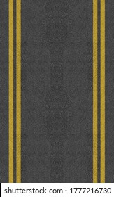2 Double Yellow Line On New Asphalt Road texture background