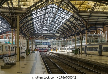 2 empty platforms at Liverpool Street Station. London - 30th July 2020