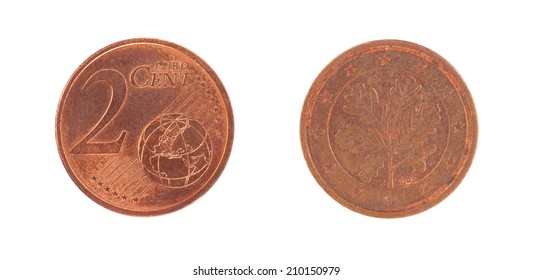 2 Euro cent coin, isolated on white