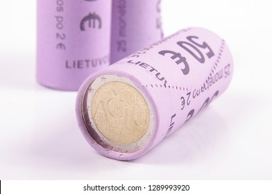 2 Euro coins bank rolls isolated on the white background