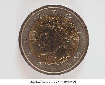 2 euro money (EUR), currency of European Union, commemorative coin showing ancient Italian poet Dante Alighieri