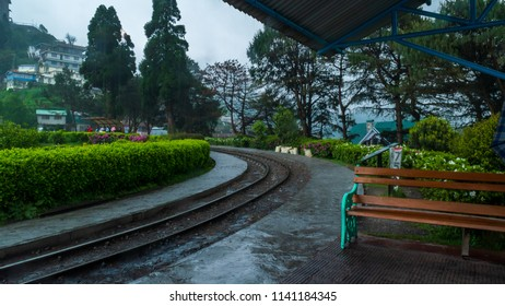 The 2 ft narrow gauge line of Darjeeling Toy train, that runs between New Jalpaiguri and Darjeeling in the Indian state of West Bengal, India. This is Batasia loop in Darjeeling, India.