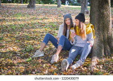 2 girl friends in a forest sitting under a tree using cell phone. concept of friendship and togetherness