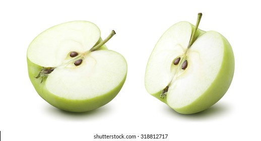 2 green apple half options isolated on white background as package design element