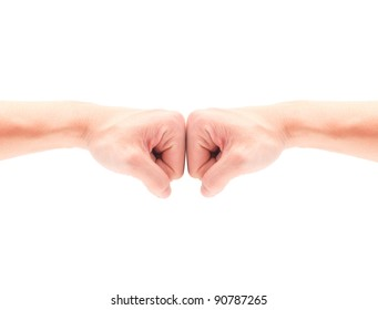 2 hand Punching together over white background