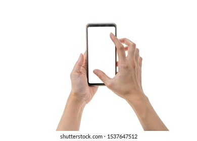 2 hands holding smart phone while zooming in for display with whie background and clipping path