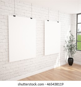 2 Hanging Posters Mock UP In Contemporary Exhibition Interior Space With Plant Pot. White bricks wall, industrial window and wooden floor planks. Perfect Background To Present Your Designs And Photos.