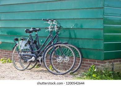2 Holland bicycles on a house wall in Holland
