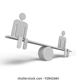 2 Humans Who Are Riding Seesaw Side View