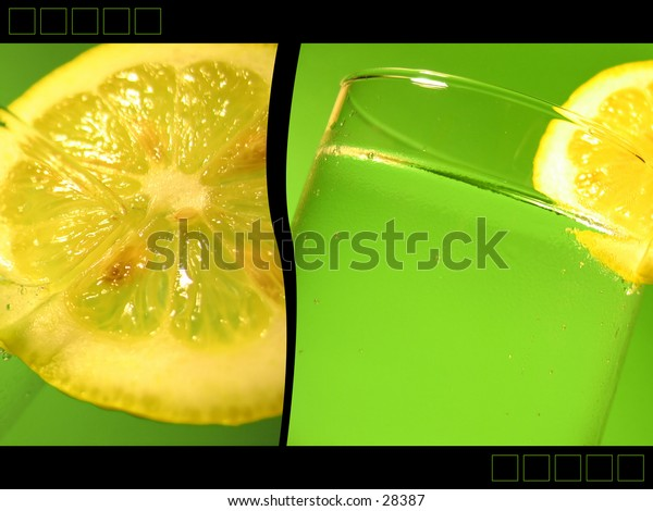 2 images of carbonated water in a glass with a slice of lemon, black border added - creating an Ad-like image.