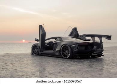 2 January 2020 - Vung Tau City, Vietnam: Liberty Walk Lamborghini Aventador LP700-4 on Vung Tau beach.