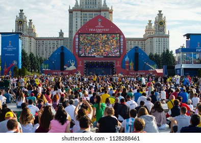 2 July 2018 Moscow, Russia. Fans  at the FIFA fans festival in the fan zone of the  FIFA World Cup 2018 in the Vorob'evy gory in Moscow.
