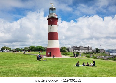 2 June 2018: Devon, UK - Smeaton's Tower is the third Eddystone Lighthouse, built by John Smeaton, which was dismantled and rebuilt on Plymouth Hoe as a memorial.