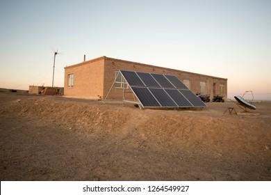 2 kw solar power plants.The herdsmen home in Inner Mongolia in western China.