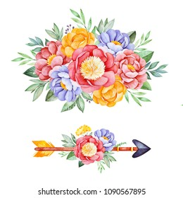 2 Lovely bouquets with peony,rose,leaves,flowers,branches and arrow.Watercolor bouquets for your design.Perfect for wedding,invitations,blogs,template card,Birthday,baby cards,greeting,logos etc.