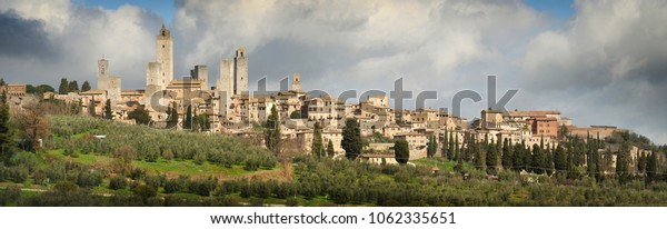 2 March 2010: Beautiful view of Medieval Town of San Gimignano in Tuscany. Italy.