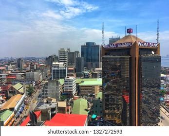 2 March 2019, Lagos Nigeria: Urban view of Lagos Island in Lagos state Nigeria