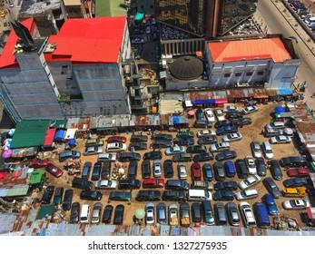 2 March 2019, Lagos Nigeria: Car park section in Marina,  Lagos Island, Lagos state Nigeria.