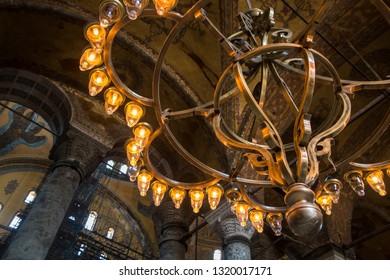 2 May 2018 Istanbul, Turkey: Interior of the Hagia Sophia Mosque now Moseum (Ayasofya) interior at Istanbul Turkey. Beautiful chandeliers.