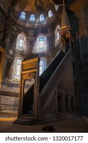 2 May 2018 Istanbul, Turkey: Interior of the Hagia Sophia Mosque now Moseum (Ayasofya) interior at Istanbul Turkey.