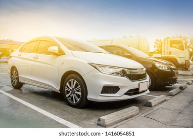 2 May 2019 at Samut Sakhon Thailand, People driving a Car and Parked Car in oil station before driving to travel