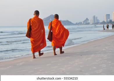 2 monks on the beach,Hua Hin Thailand