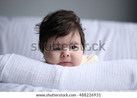 2 Month Old Baby Girl on blanket head-shot
