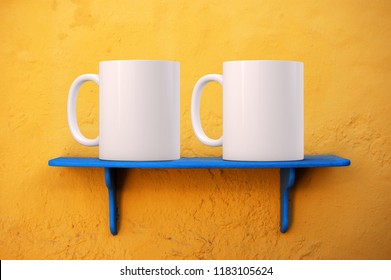 2 mug mock-up. Two white blank coffee mugs to add custom design or quote. Perfect for businesses selling mugs, just overlay your quote or design on to the image.